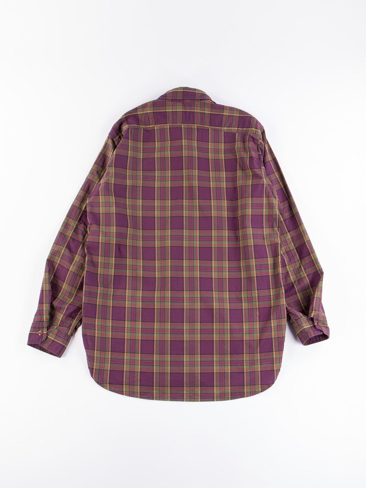 Purple/Green Cotton Printed Plaid Work Shirt - Image 6