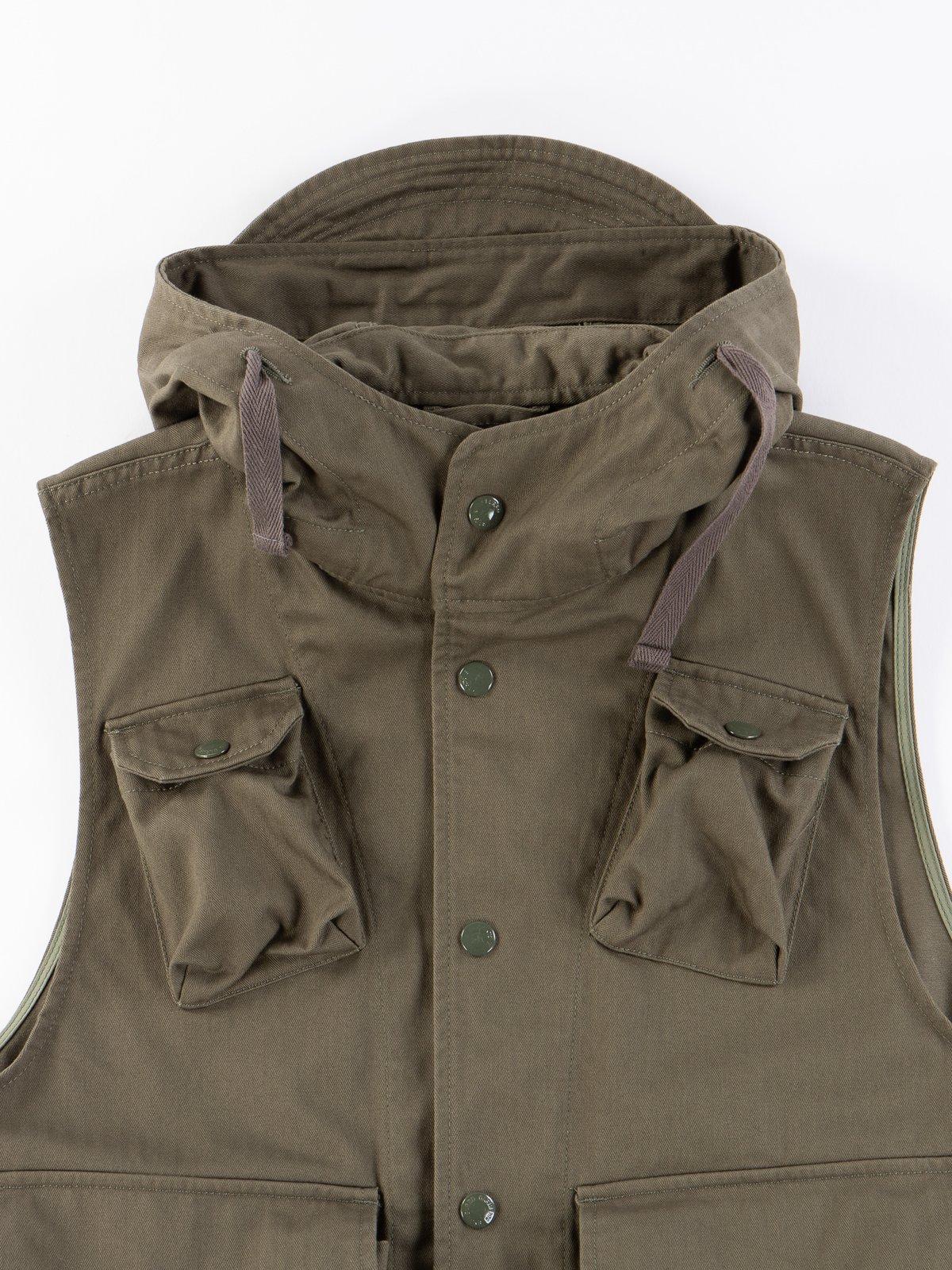 Olive Cotton Herringbone Twill Field Vest - Image 3