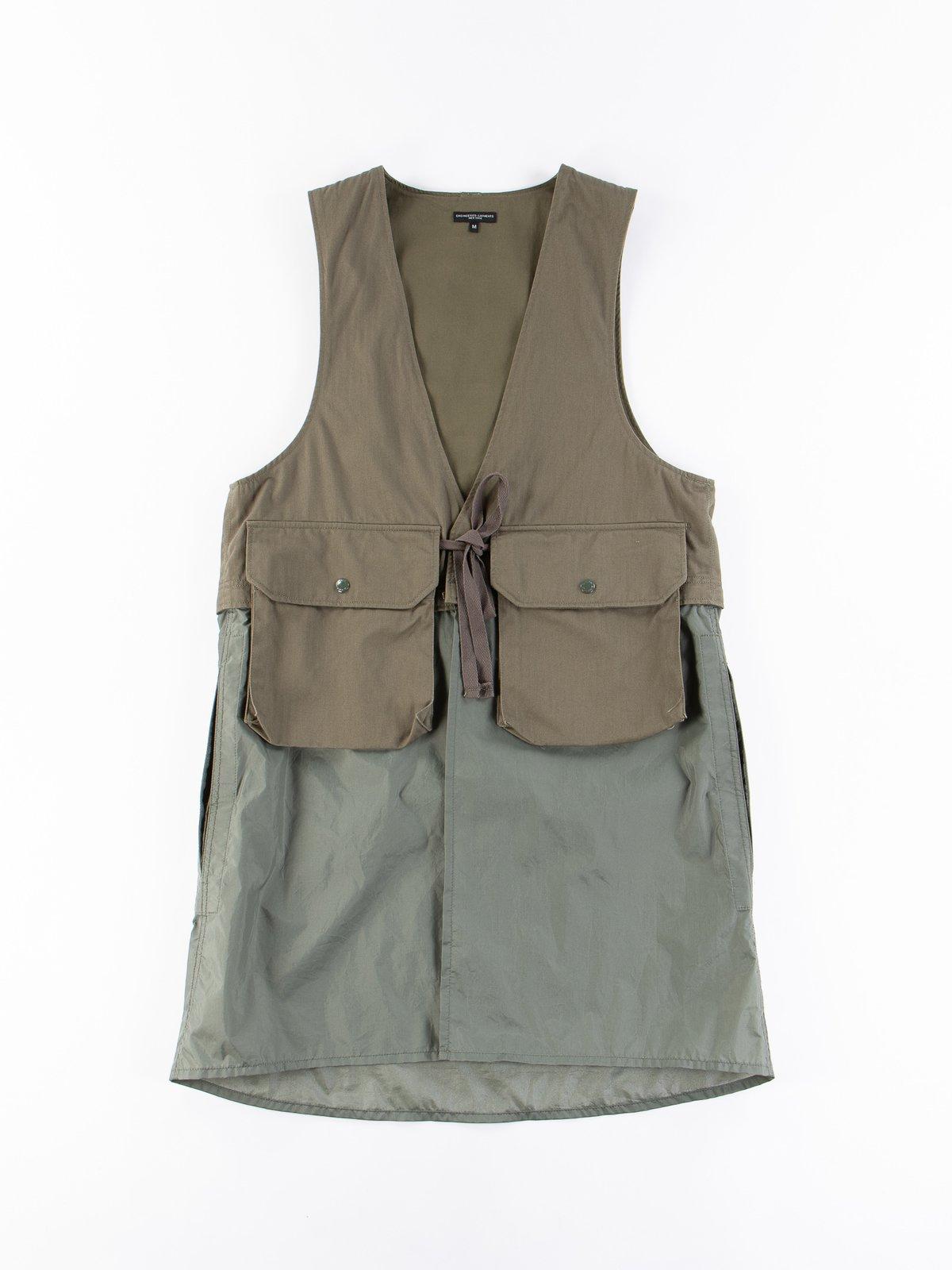Olive Cotton Herringbone Twill Long Fowl Vest - Image 1