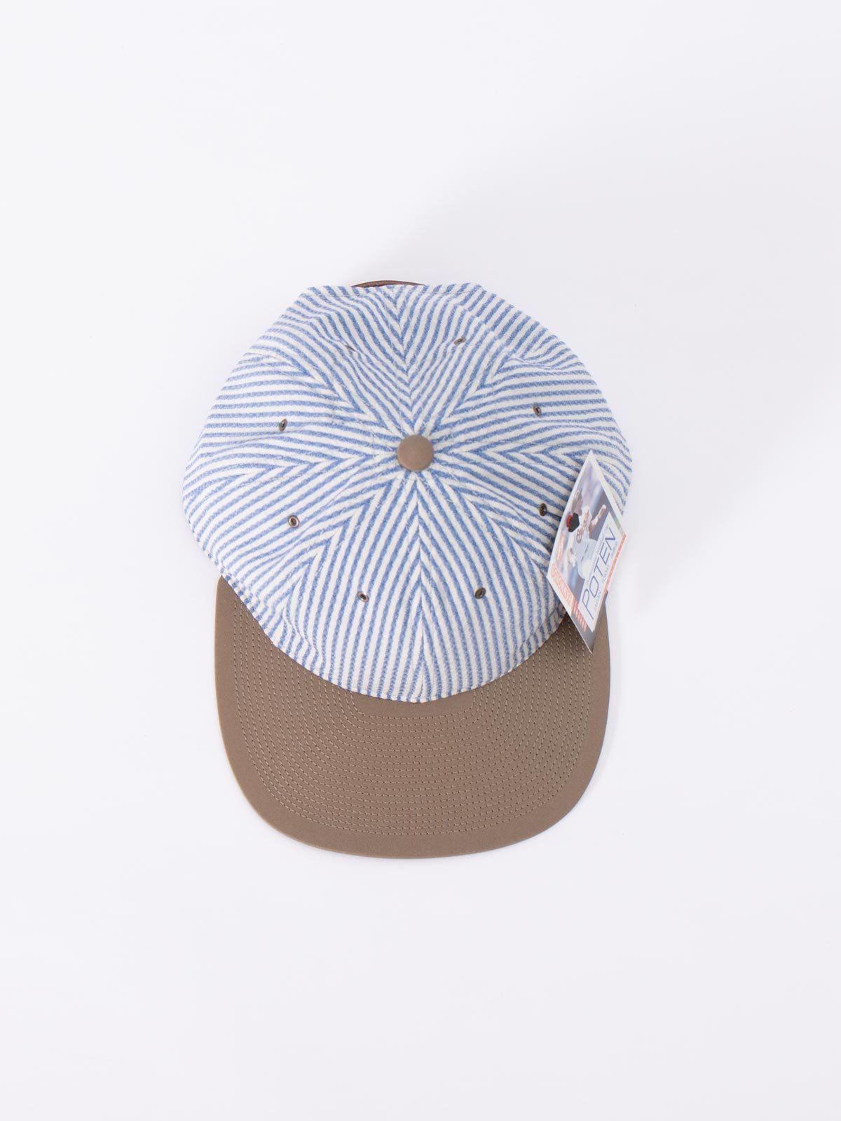 "NAVY/WHITE ""CANONICO"" SEERSUCKER CAP - Image 3"