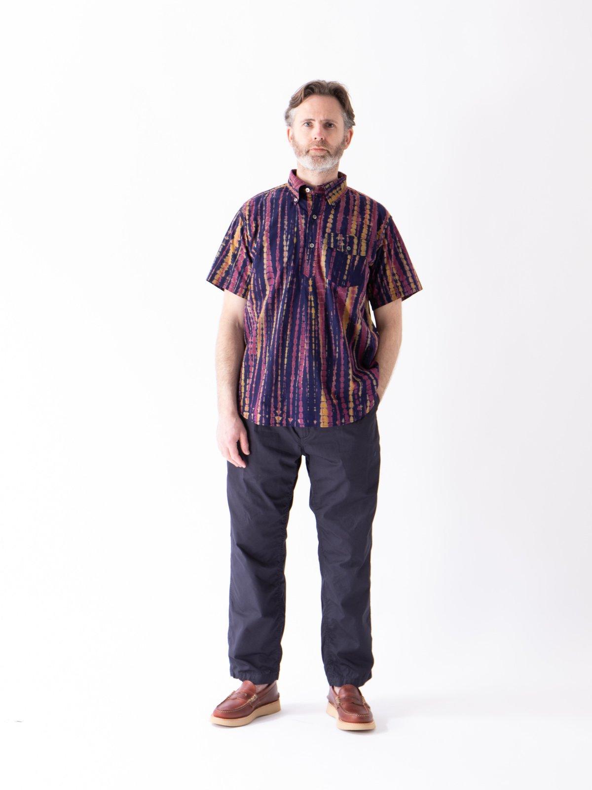 Navy Cotton Lawn Batik Stripe Popover BD Shirt - Image 2
