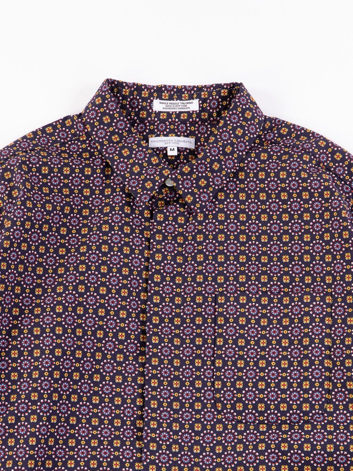 Navy Floral Foulard Print Short Collar Shirt - Image 3