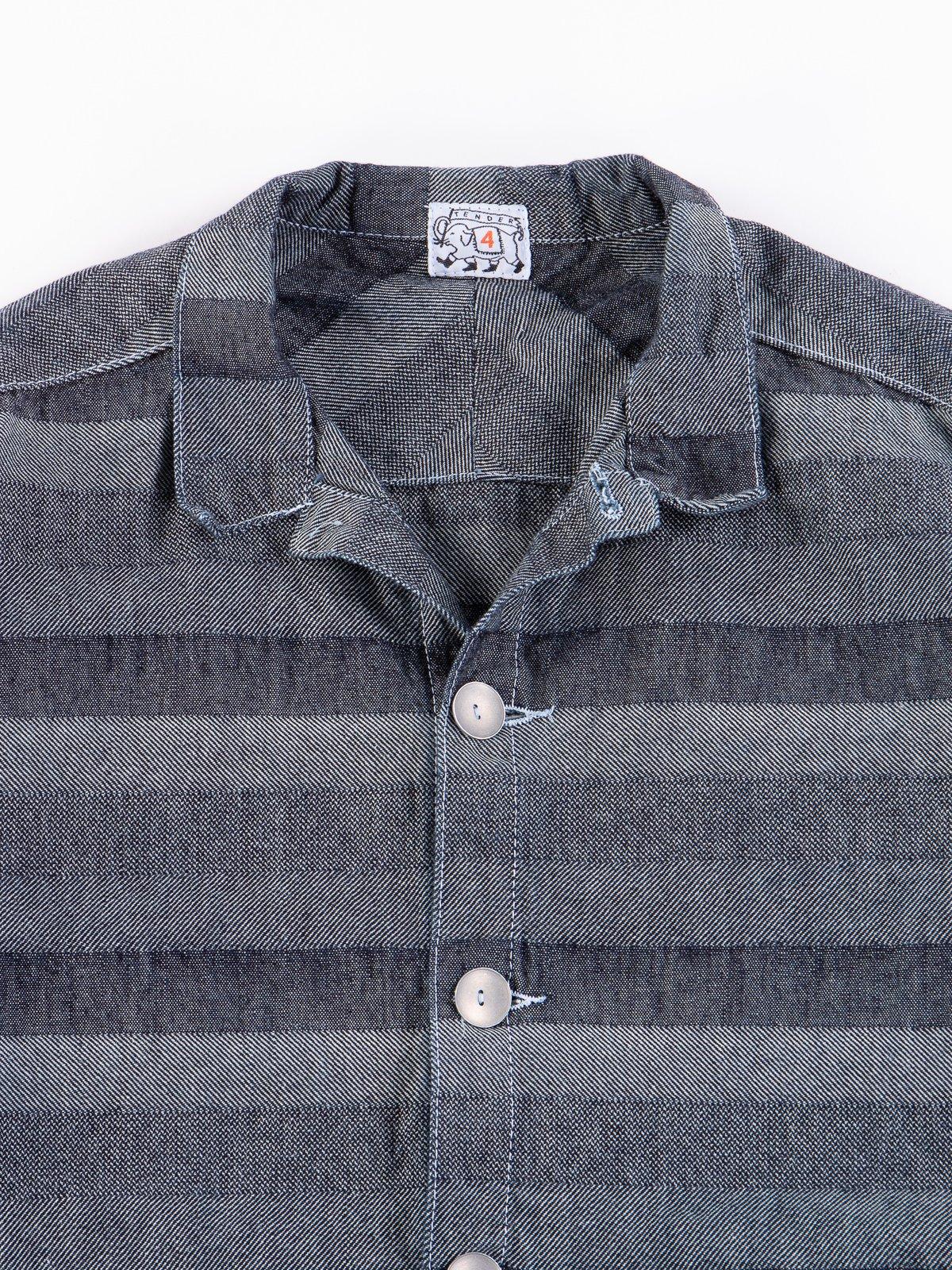 Rinse Washed Indigo Weaver's Blanket Stripe Floor Shirt - Image 4