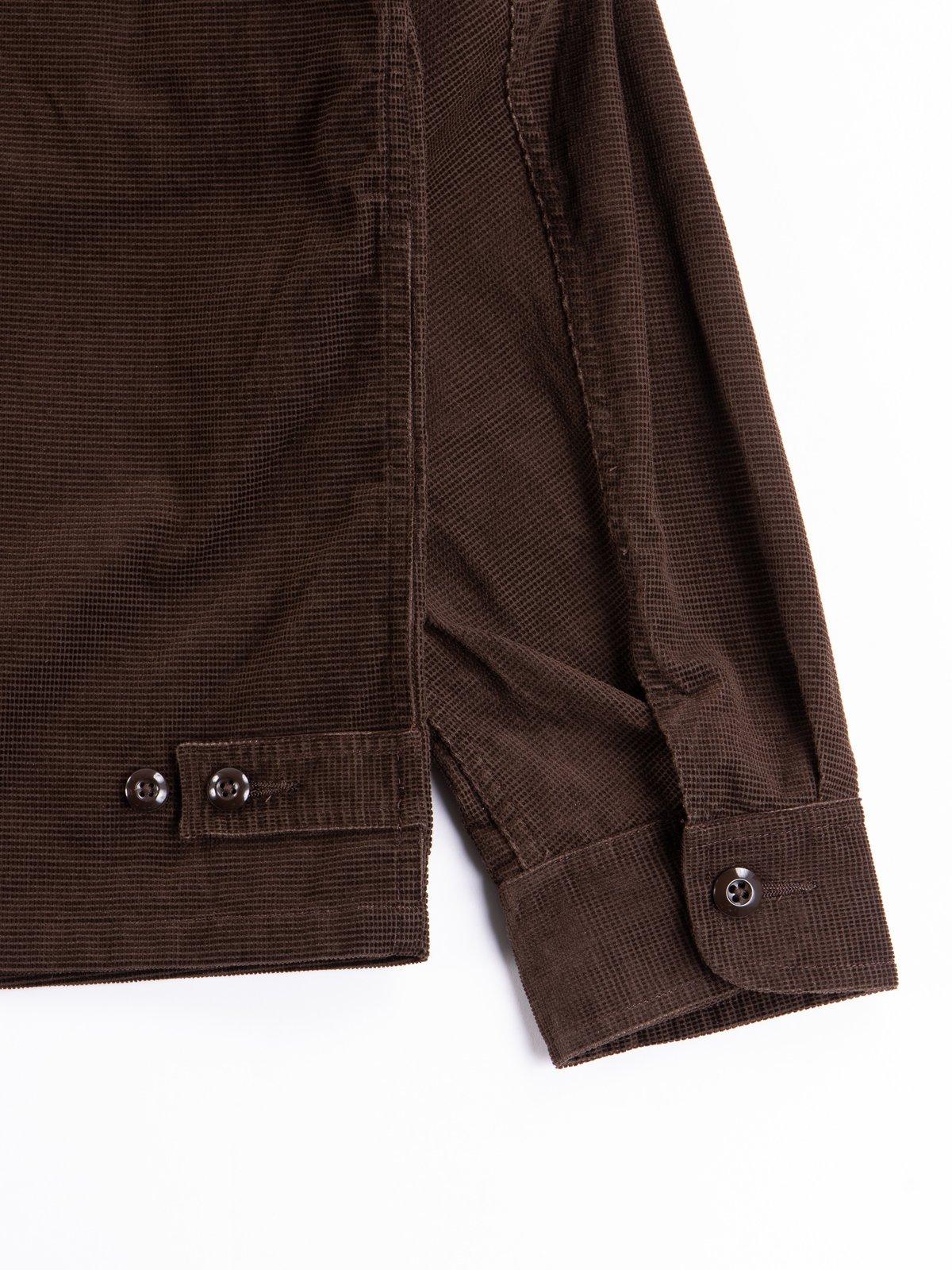 Dark Brown Dobby Caramel Corduroy Combat Short Jacket - Image 7