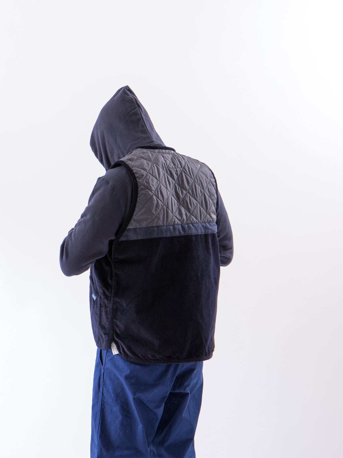 Navy Washed Cord Taped Gilet - Image 3