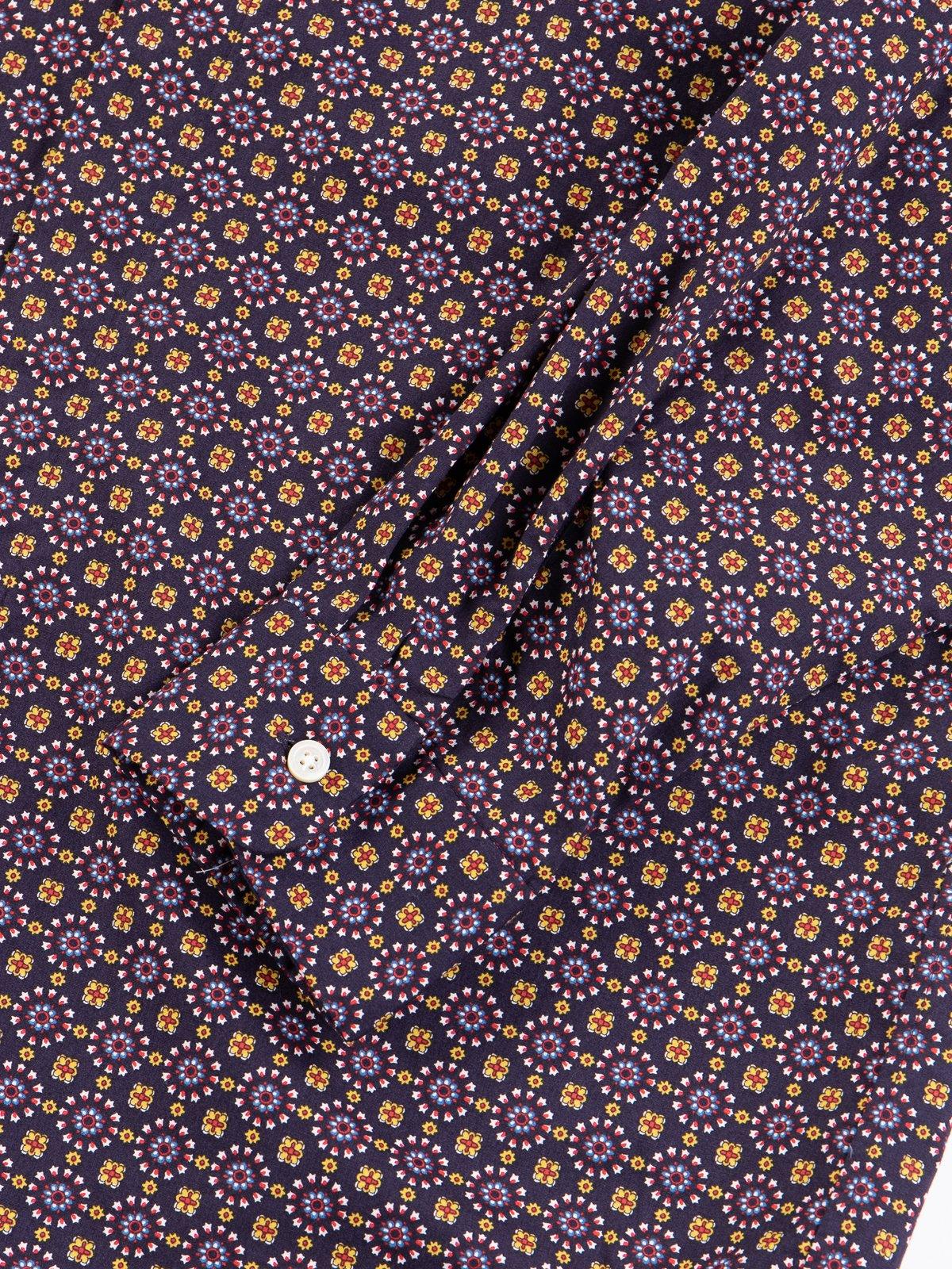 Navy Floral Foulard Print Short Collar Shirt - Image 4