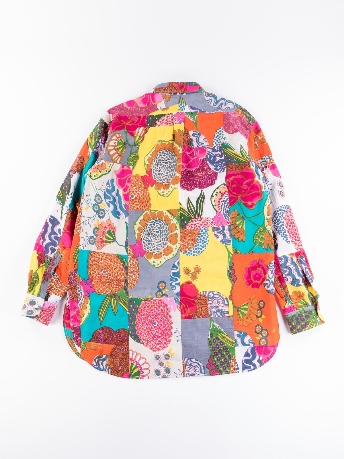 Multi Color Cotton Floral Patchwork 19th Century BD Shirt - Image 6