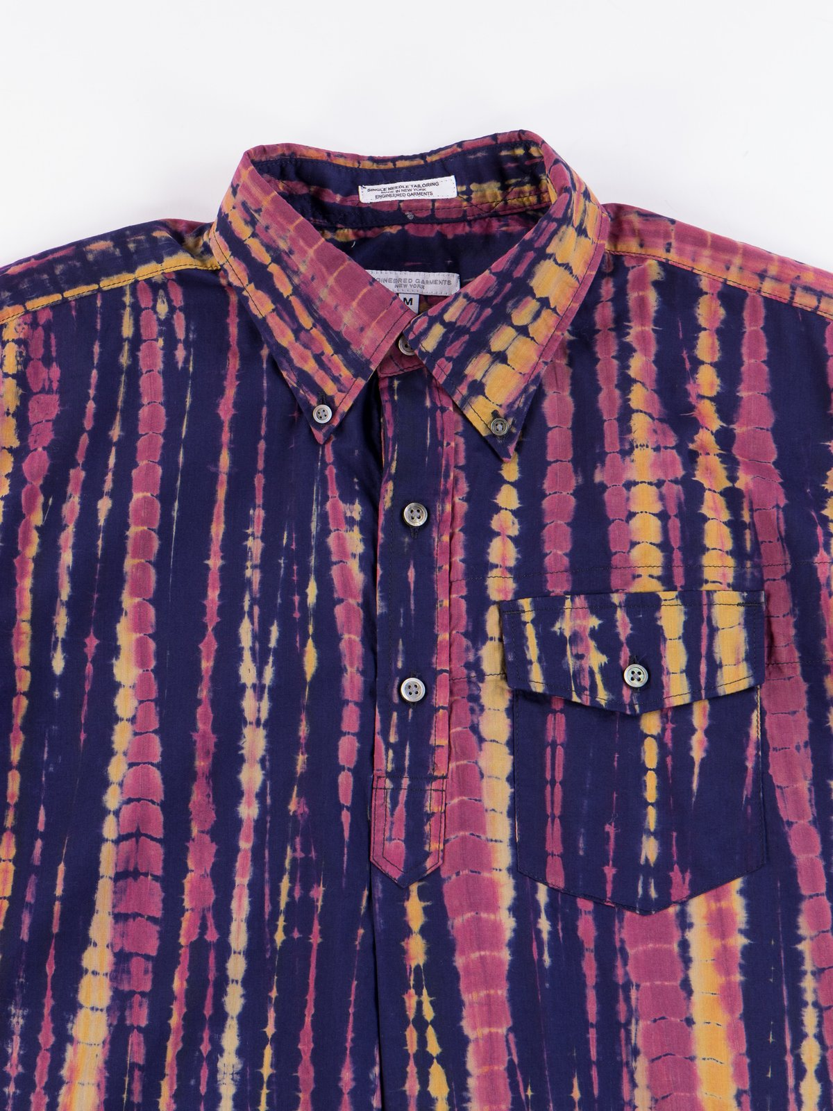 Navy Cotton Lawn Batik Stripe Popover BD Shirt - Image 4