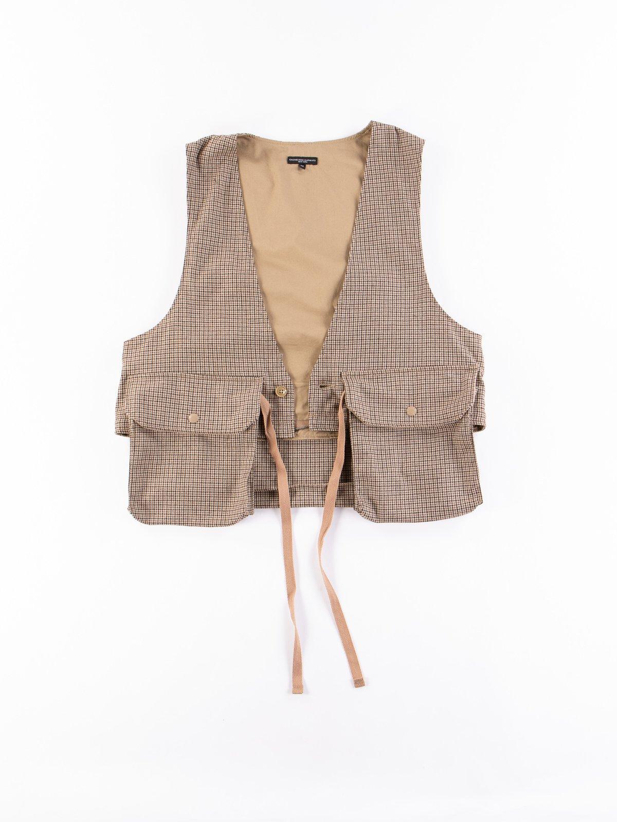 Brown Wool Poly Gunclub Check Long Fowl Vest - Image 9