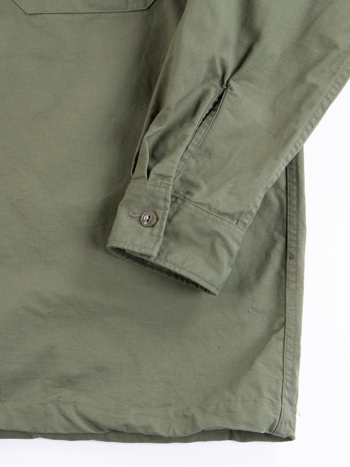 Olive Cotton Ripstop Cagoule Shirt - Image 5