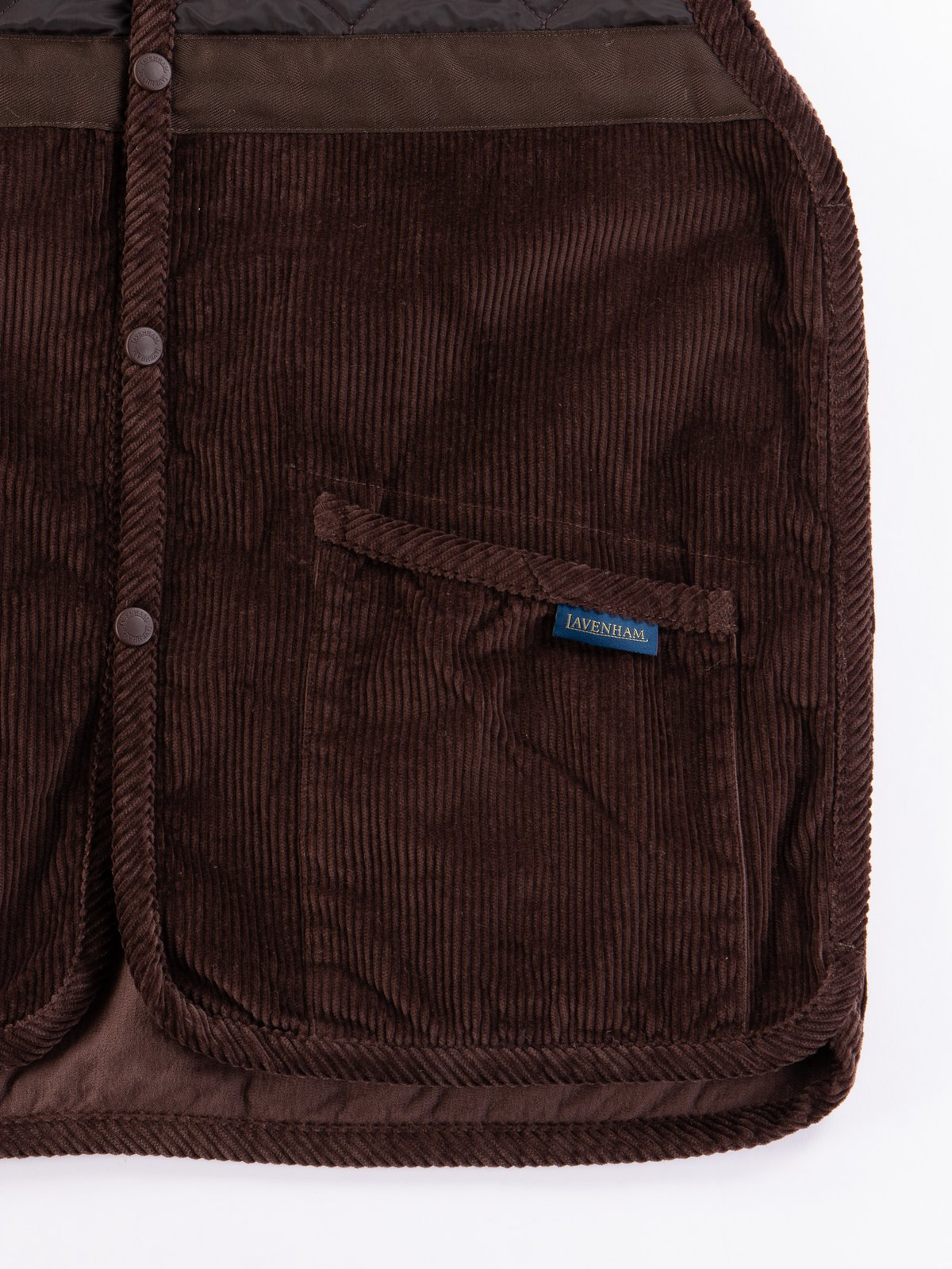 Brown Washed Cord Taped Gilet - Image 4