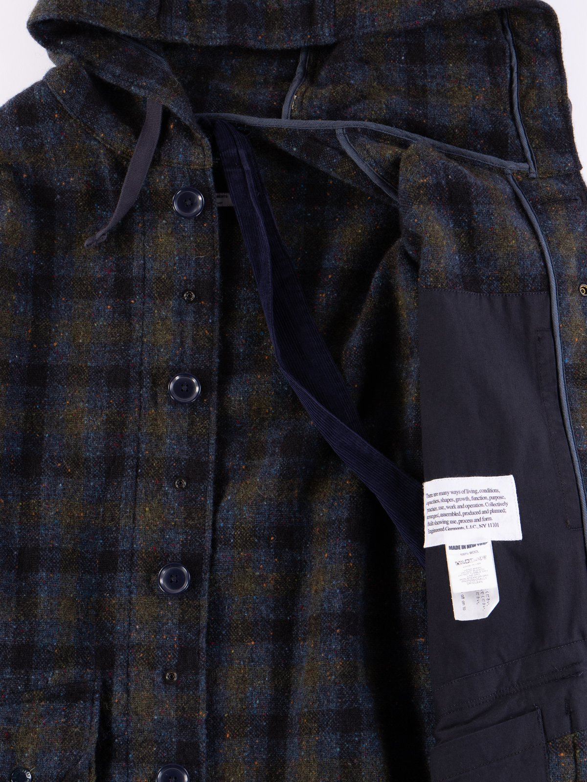 Navy Check Donegal Wool Tweed Madison Parka - Image 9
