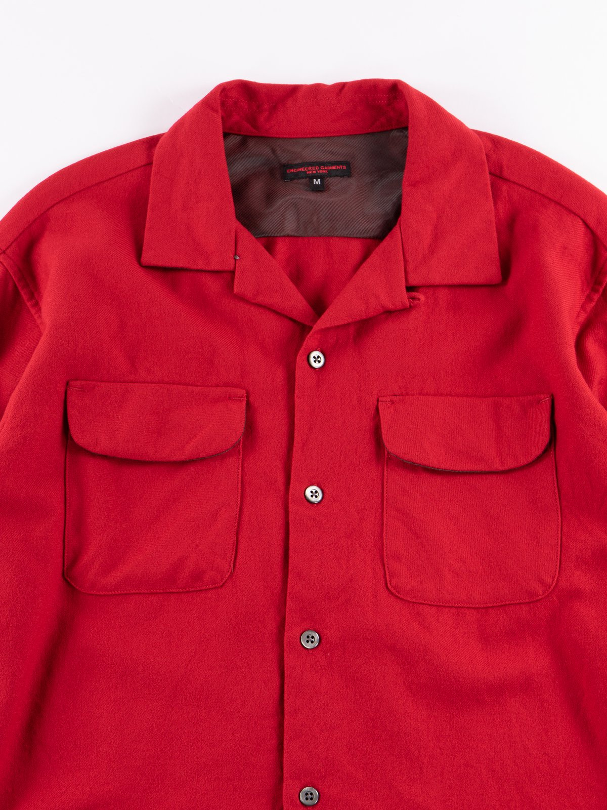 Red Worsted Wool Flannel Classic Shirt - Image 3