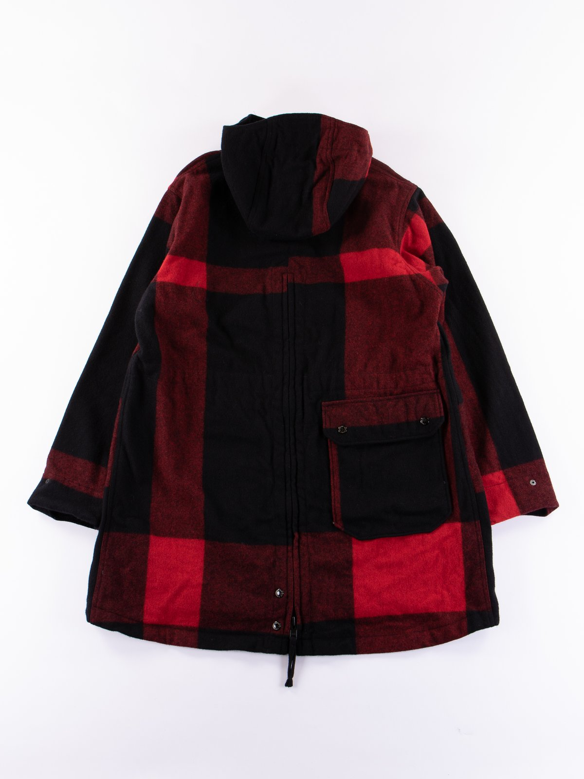 Black Big Plaid Wool Melton Over Parka - Image 5