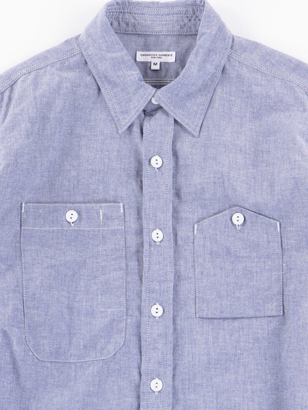 Light Blue Light Weight Cotton Chambray Work Shirt - Image 2