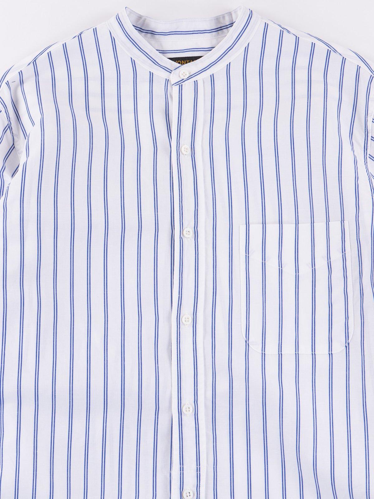 Blue Stripe Banded Collar Shirt - Image 2