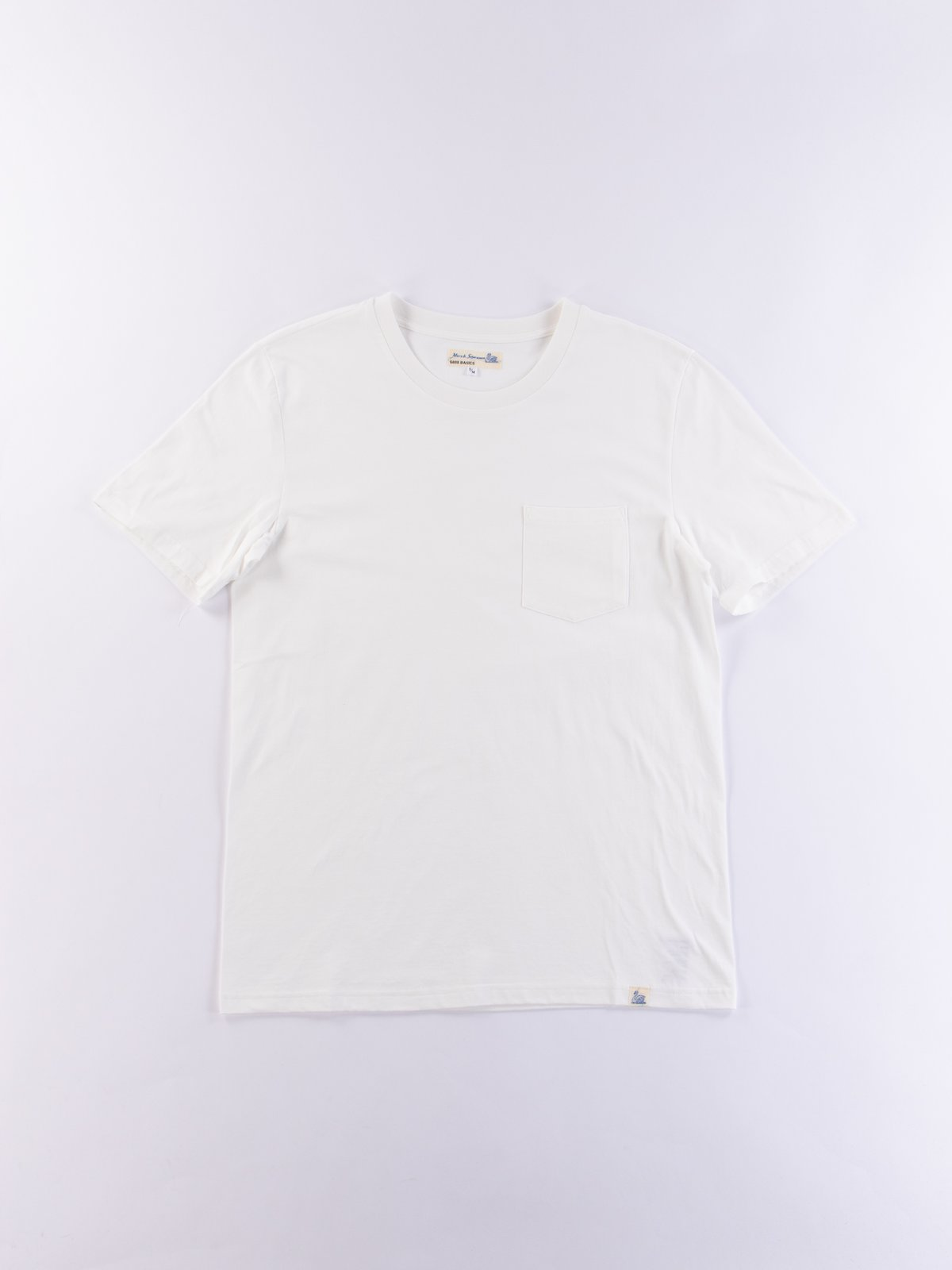 White Good Basics CTP01 Pocket Crew Neck Tee - Image 1