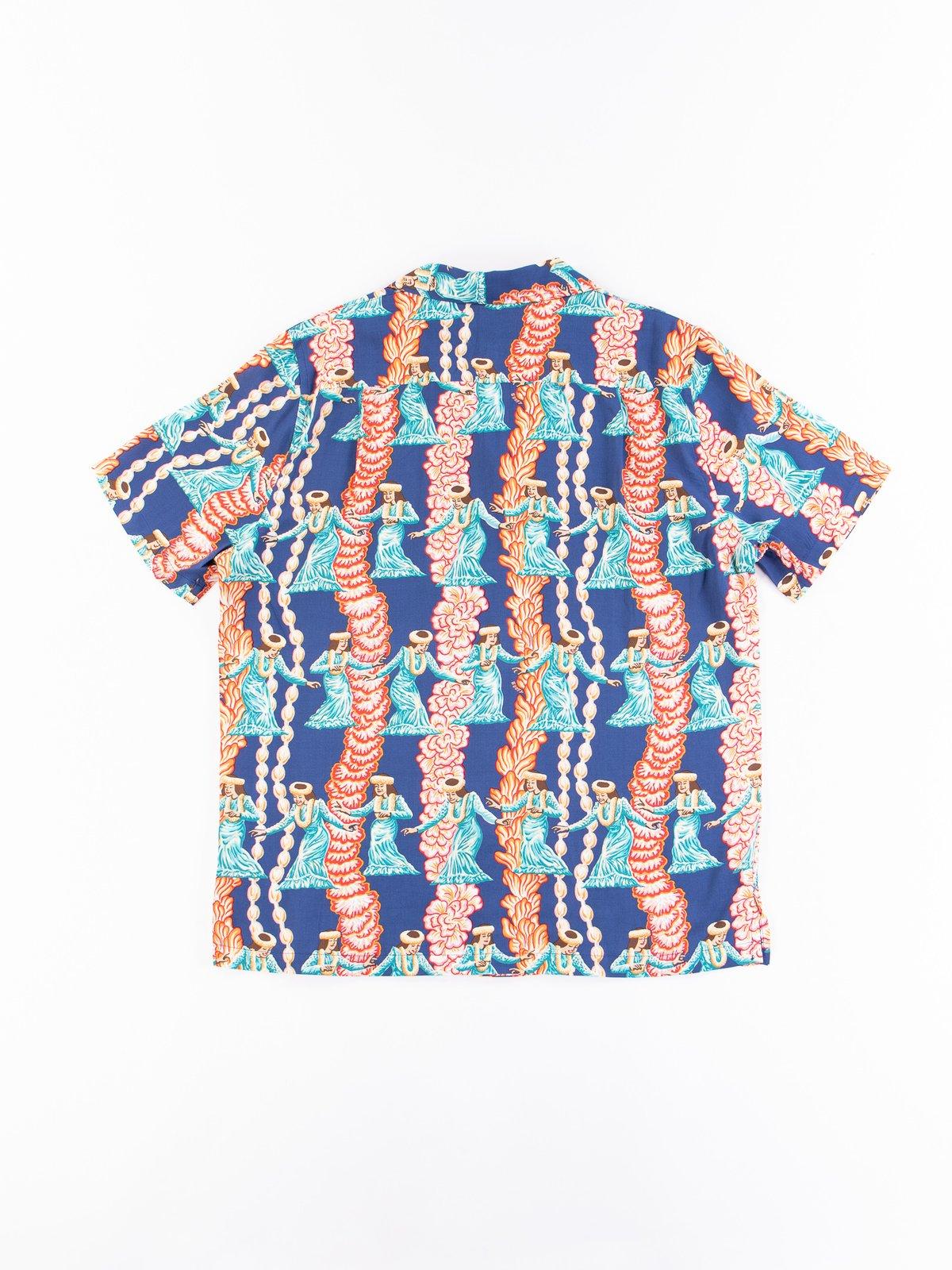 Navy Hula Auana Rayon Camp Shirt - Image 7