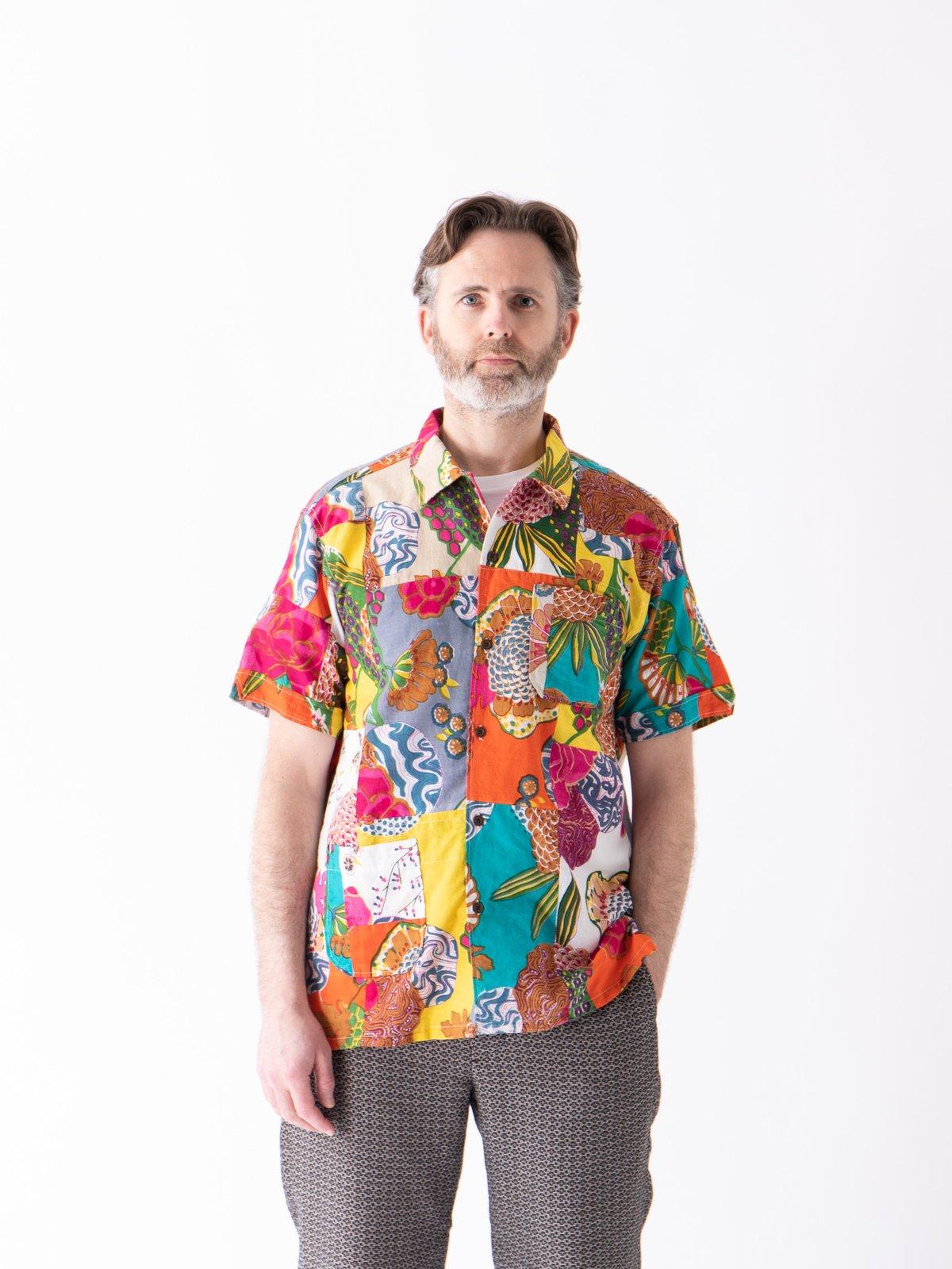 Multi Color Cotton Floral Patchwork Camp Shirt - Image 2