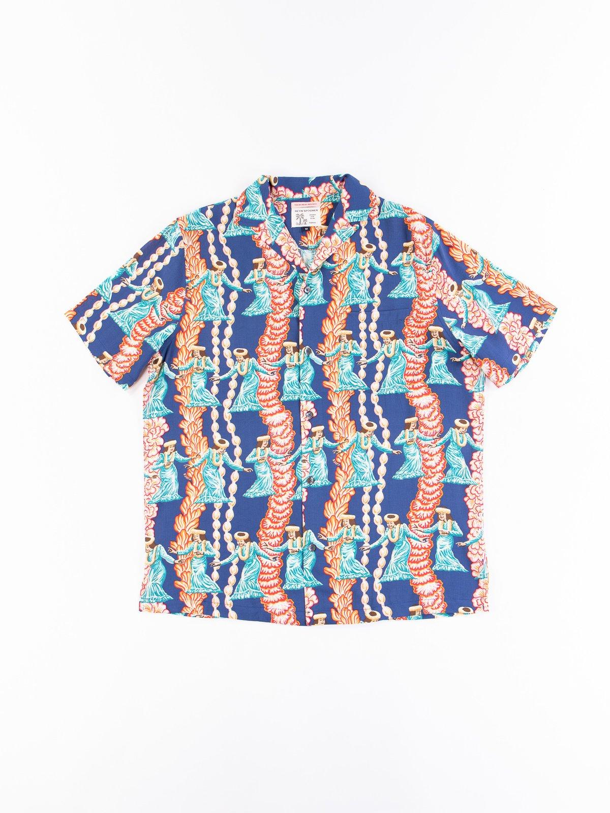 Navy Hula Auana Rayon Camp Shirt - Image 1