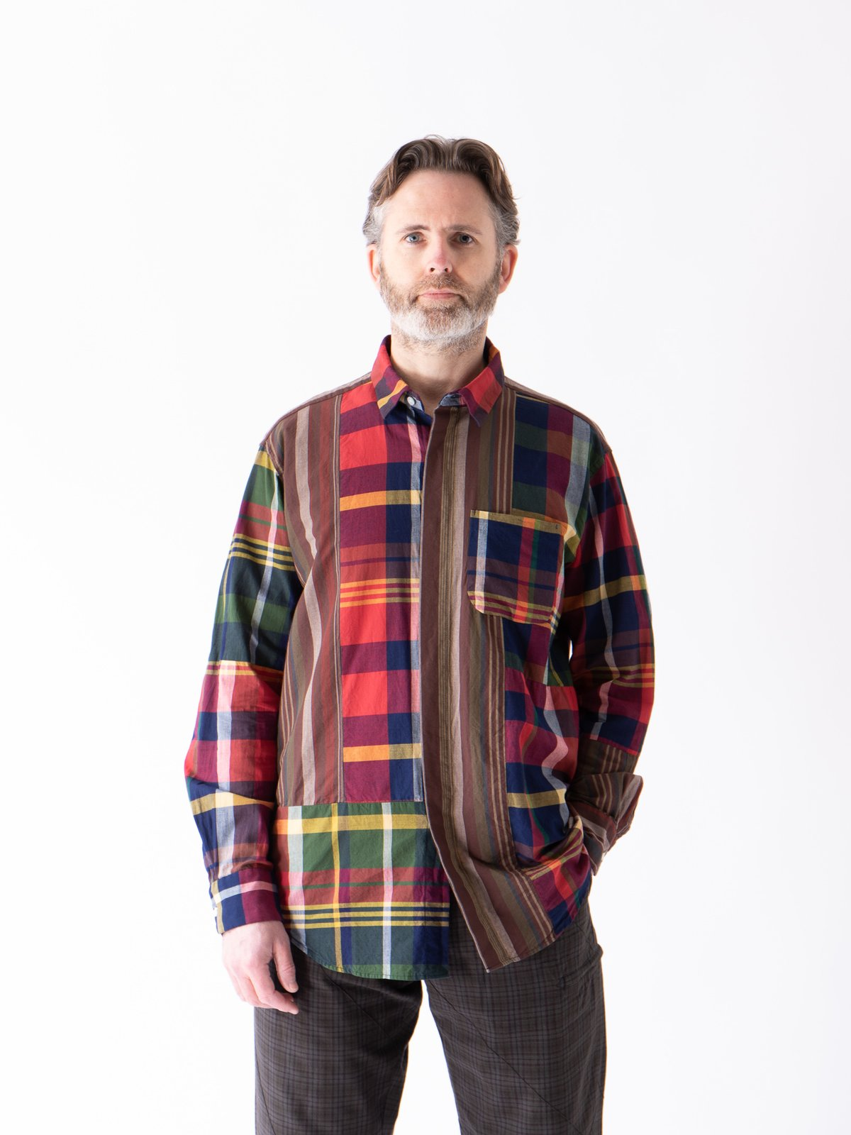 Red/Navy Cotton Big Madras Plaid Combo Short Collar Shirt - Image 2