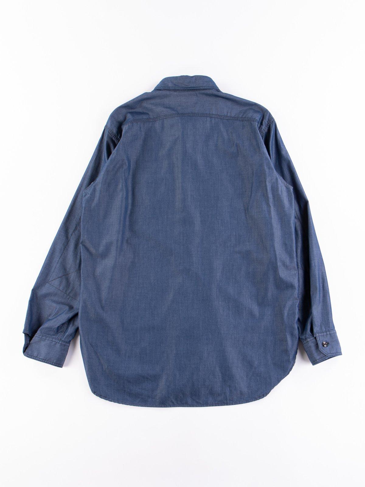Dark Blue Light Weight Denim Work Shirt - Image 5