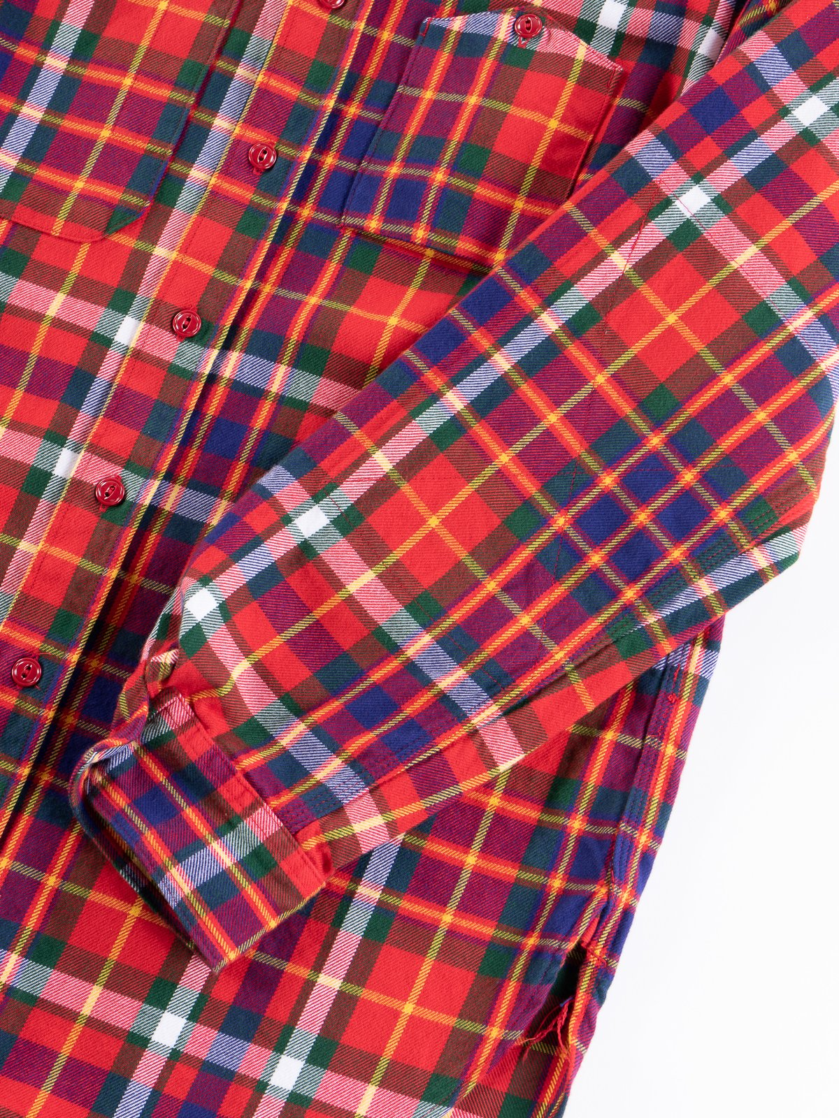 Red/Green/Yellow Cotton Twill Plaid Work Shirt - Image 4
