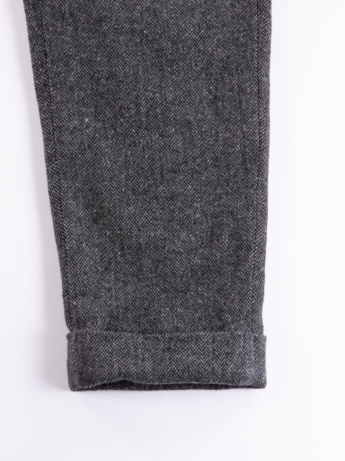 Grey Poly Wool Herringbone Andover Pant - Image 5