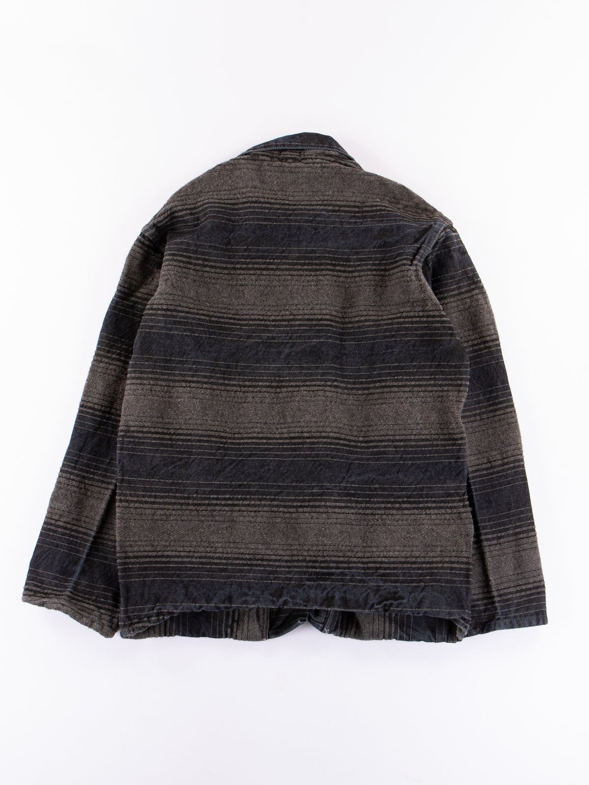 Indian Black Dye Doppler Stripe Collared Shepherd's Coat - Image 7