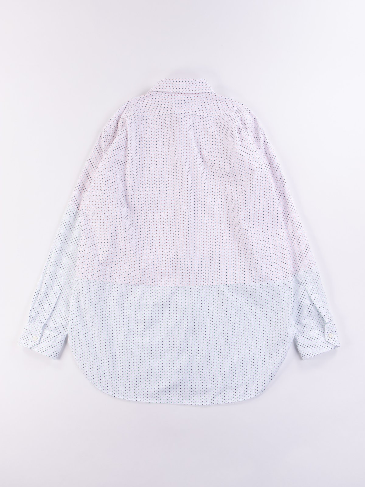 Red/Navy Small Polka Dot Spread Collar Shirt - Image 6