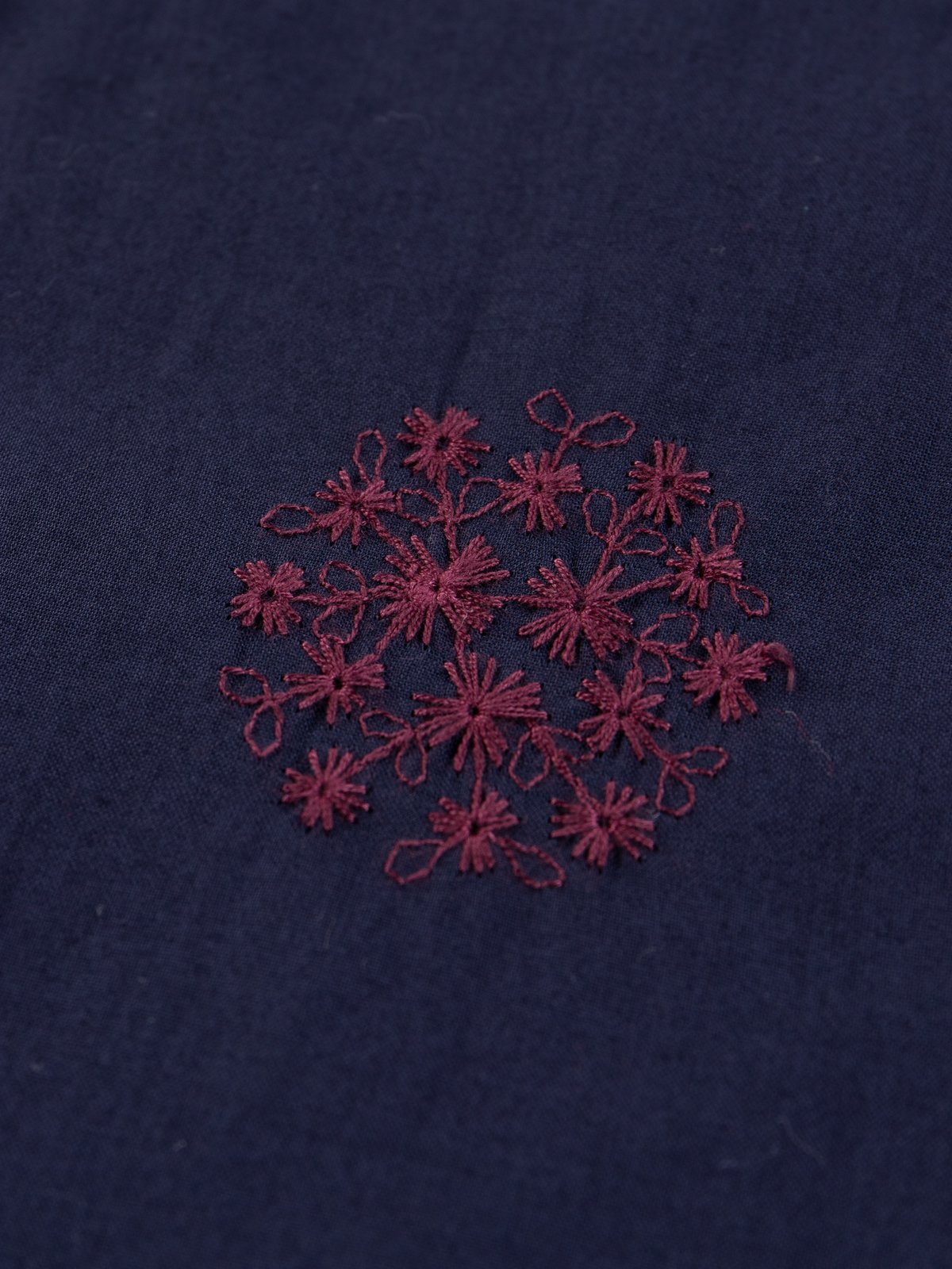 Navy Floral Dot Embroidered Cabana Shirt - Image 5