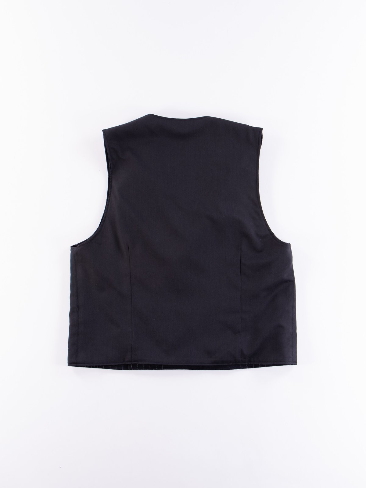 Dark Navy Worsted Wool Gabardine Reversible Vest - Image 4