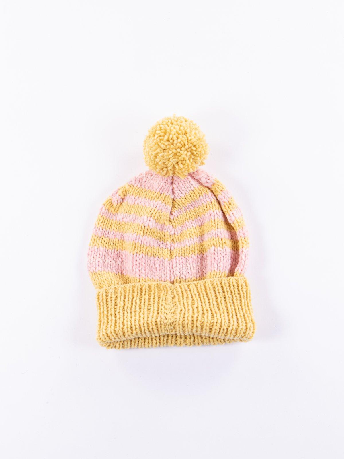 Marigold/Light Pink Double Cuff Stripe Cap - Image 1
