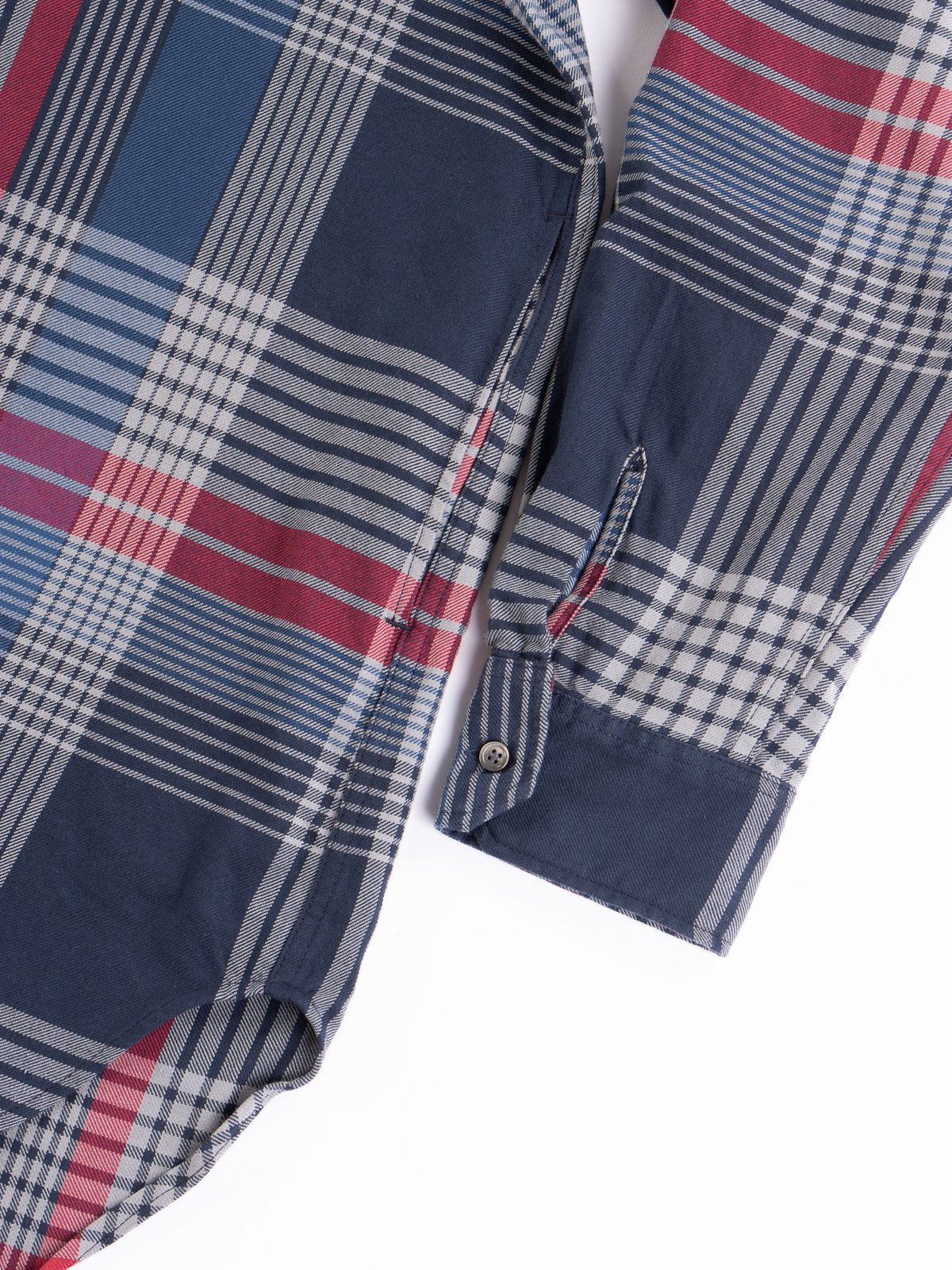 Navy/Grey/Red Cotton Twill Plaid Banded Collar Shirt - Image 4
