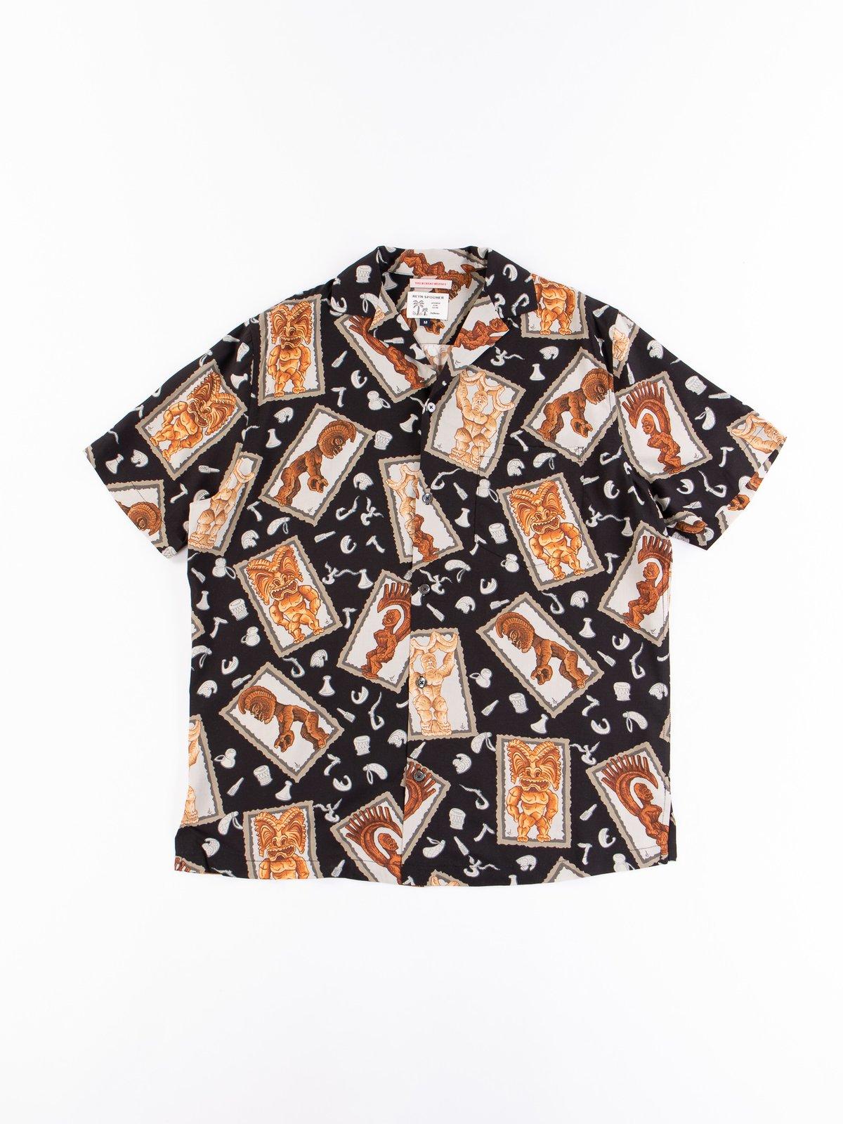 Black Hawaiian Tikis Rayon Camp Shirt - Image 1