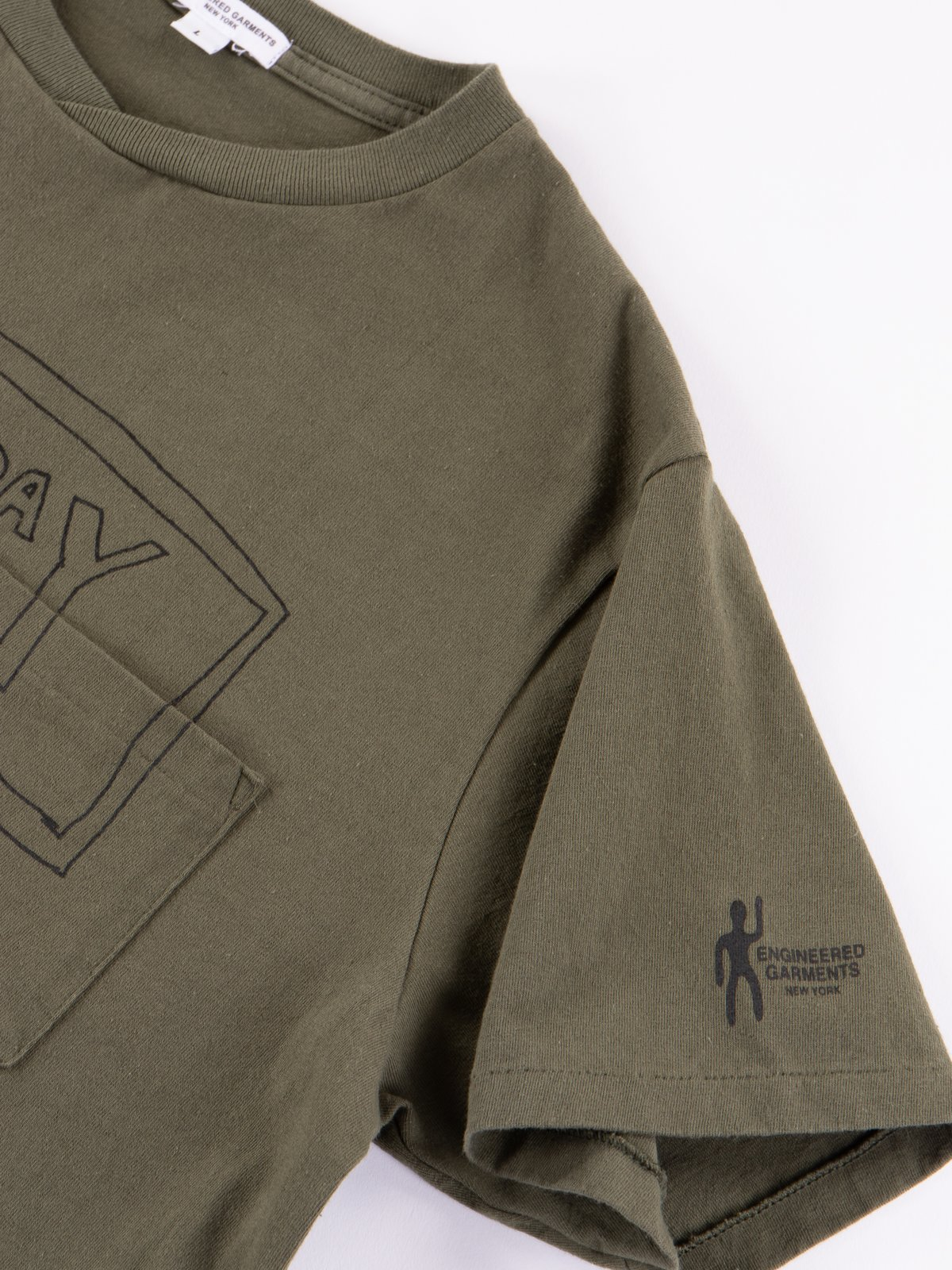 Olive Everyone Crossover Crew Pocket Tee - Image 3