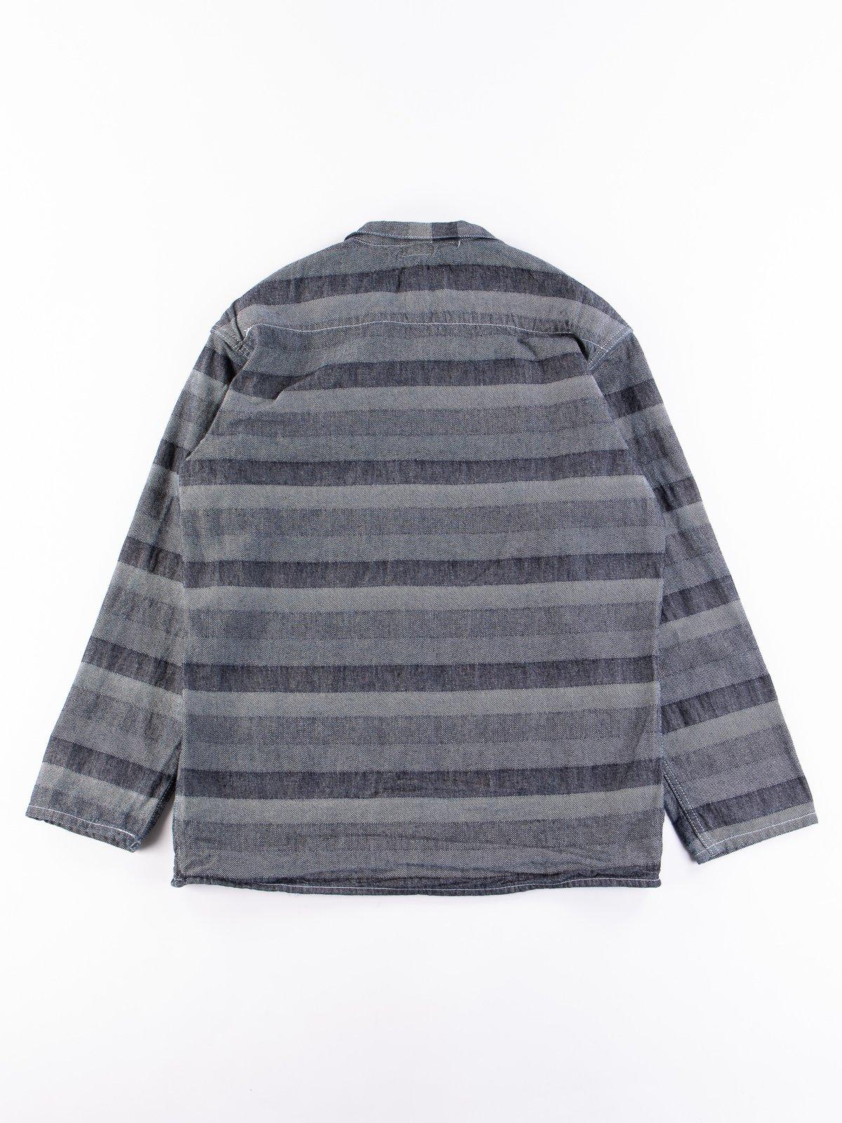 Rinse Washed Indigo Weaver's Blanket Stripe Floor Shirt - Image 7