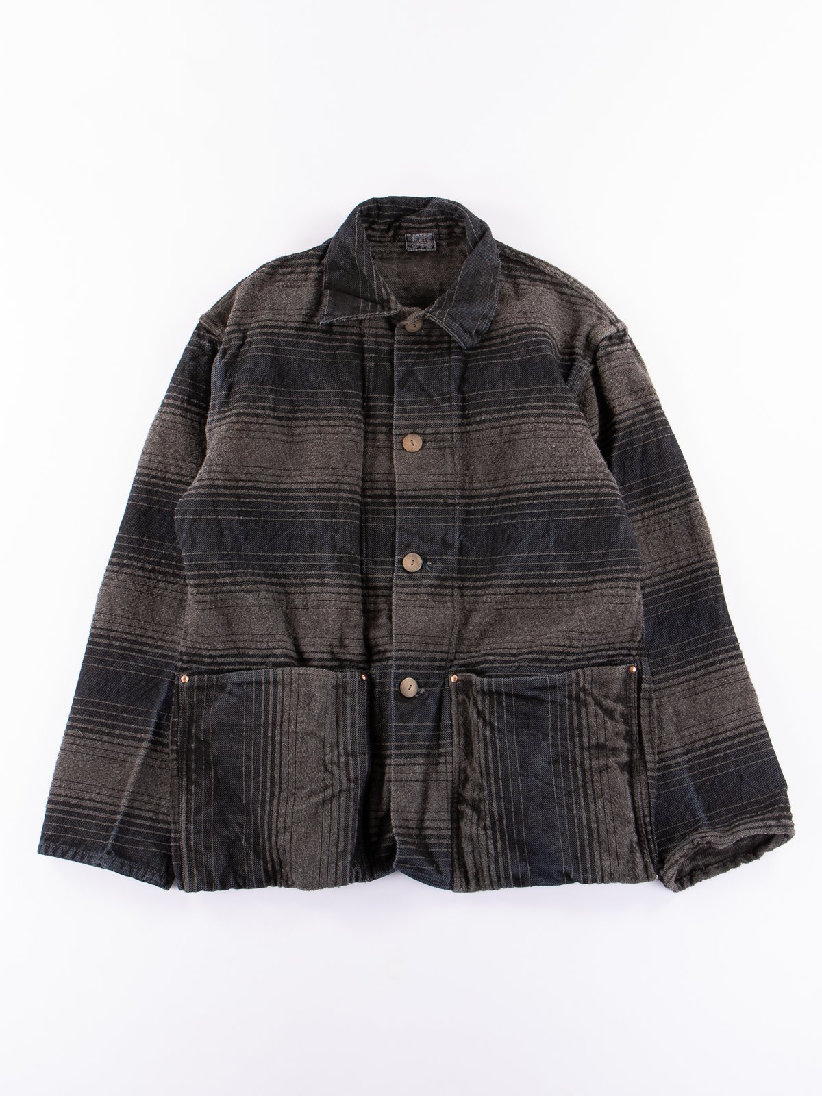 Indian Black Dye Doppler Stripe Collared Shepherd's Coat - Image 1