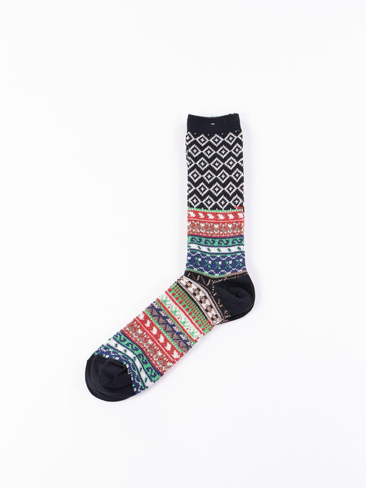 Black Fairisle JQ Crew Socks - Image 1