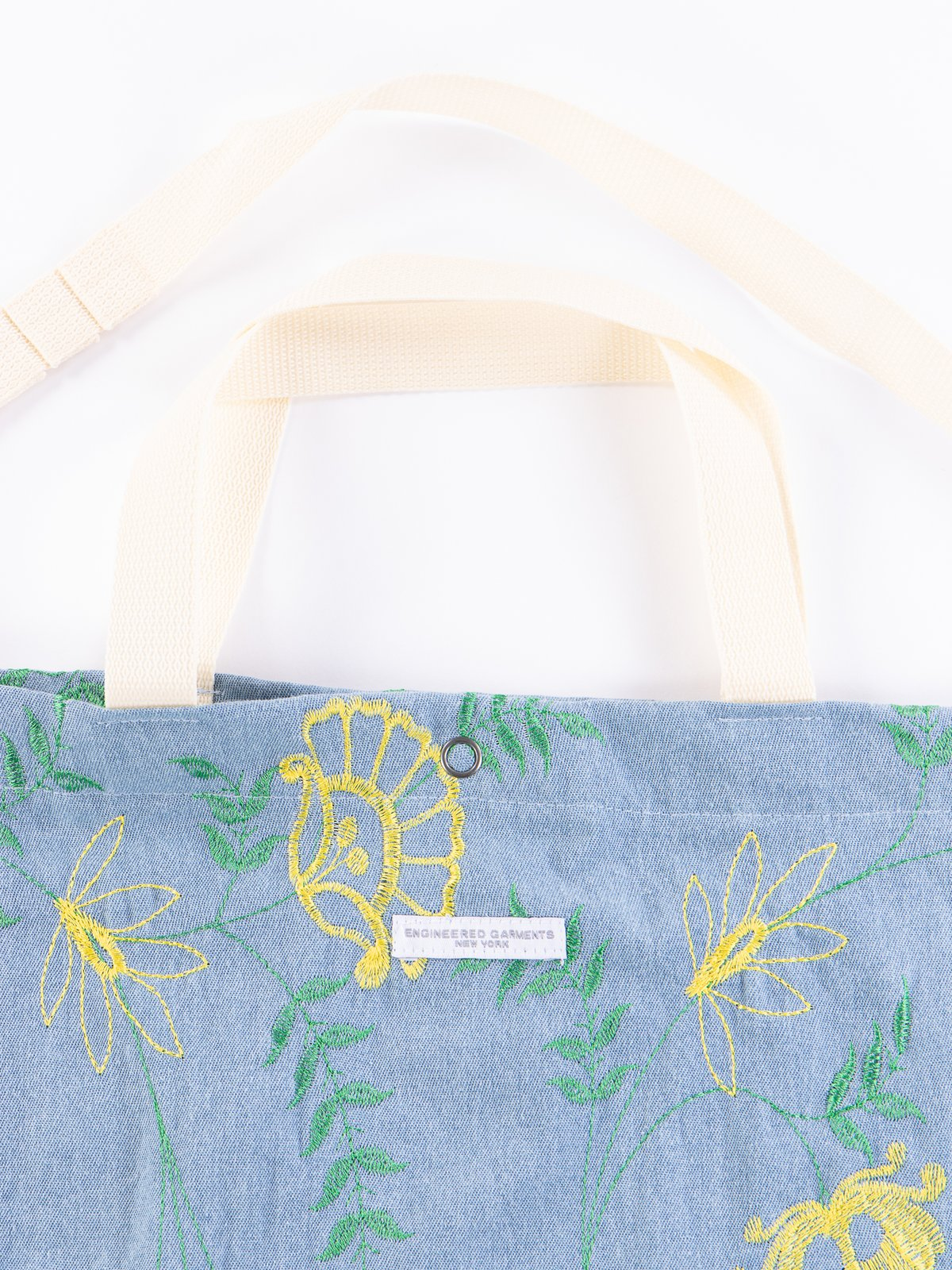 Light Blue Denim Floral Embroidery Carry All Tote - Image 3