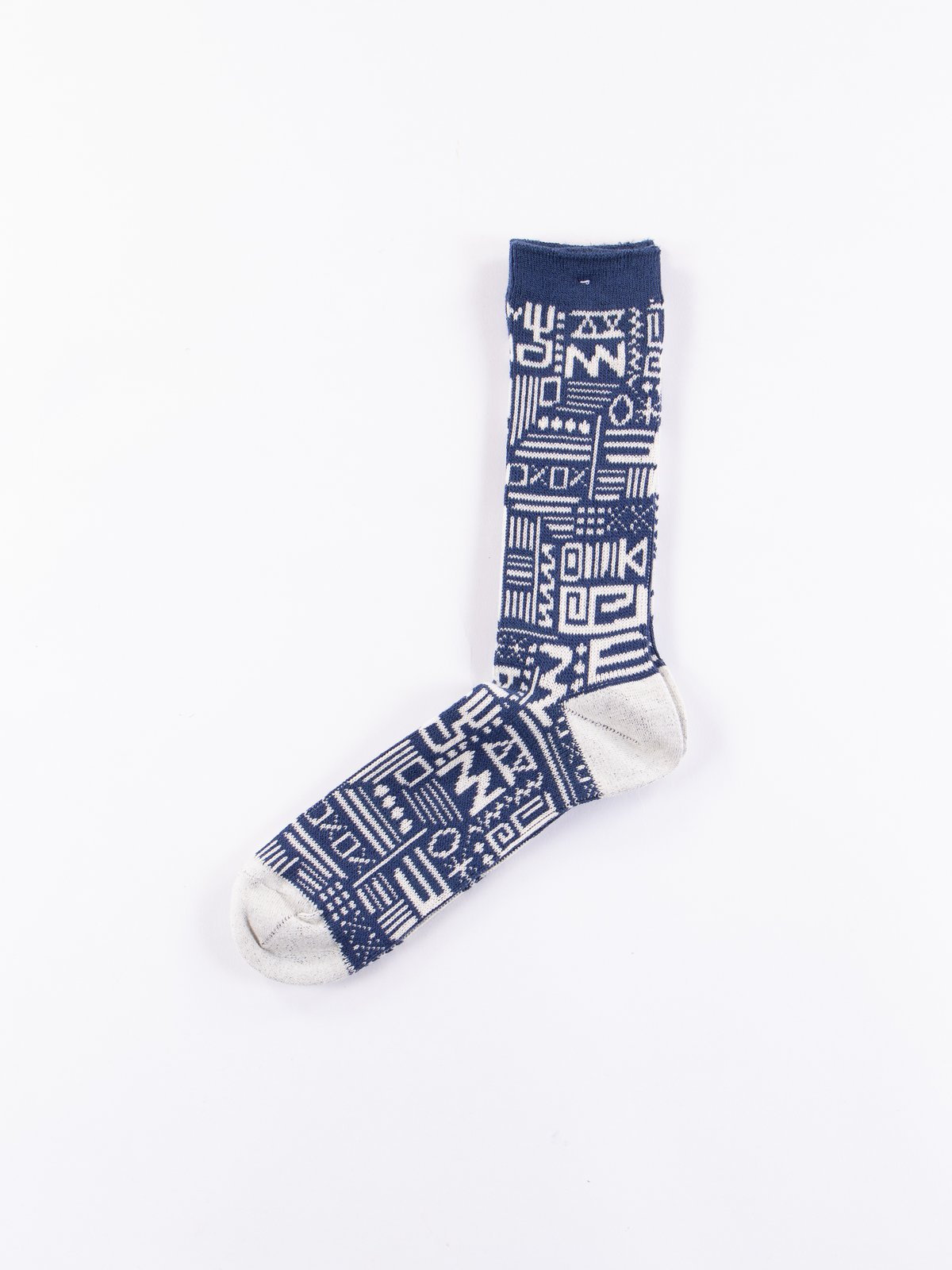 Navy Aztec Knit Socks - Image 1