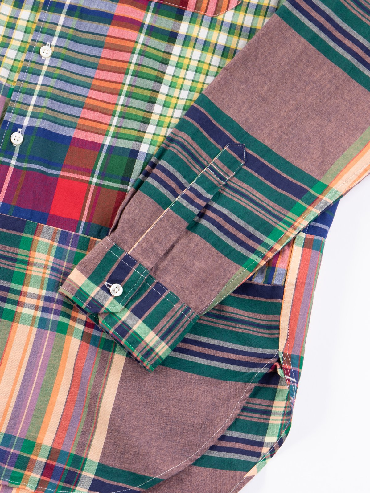Red/Blue/Green Big Madras Plaid Spread Collar Shirt - Image 4