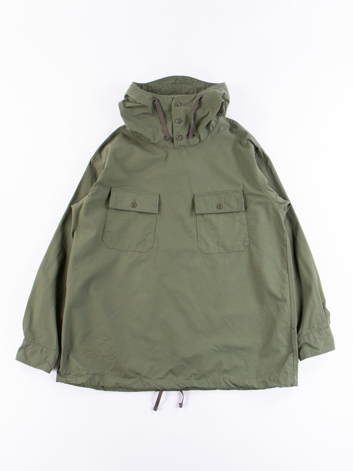 Olive Cotton Ripstop Cagoule Shirt - Image 1