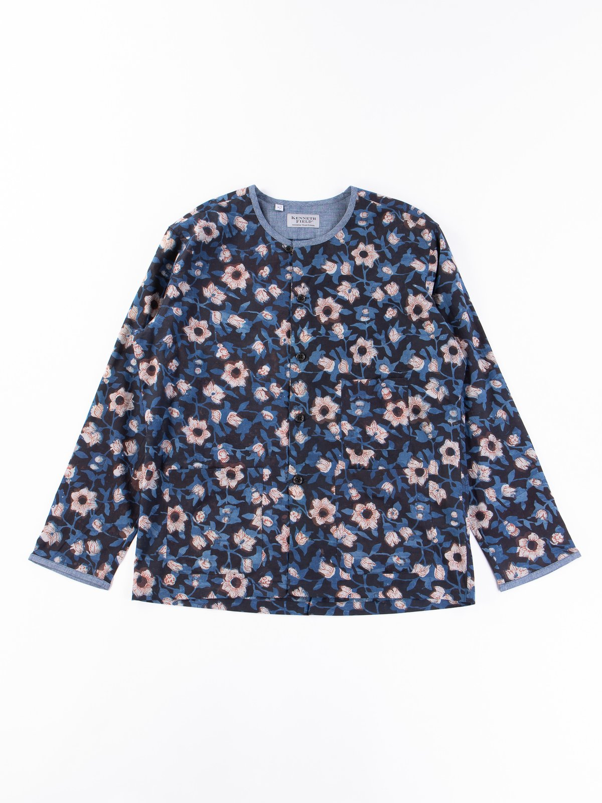 Indigo Flower Indian Print EZ–JACIII Jacket - Image 1