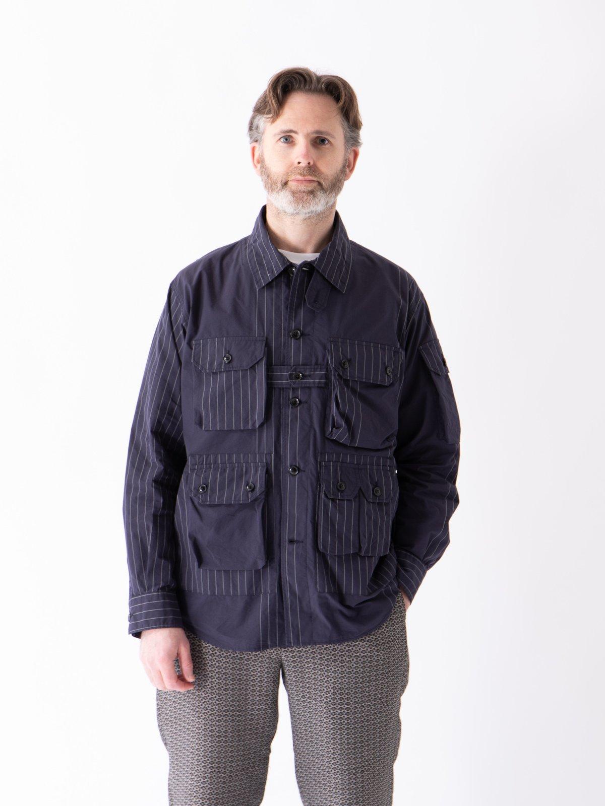 Dark Navy Nyco Gangster Stripe Explorer Shirt Jacket - Image 2