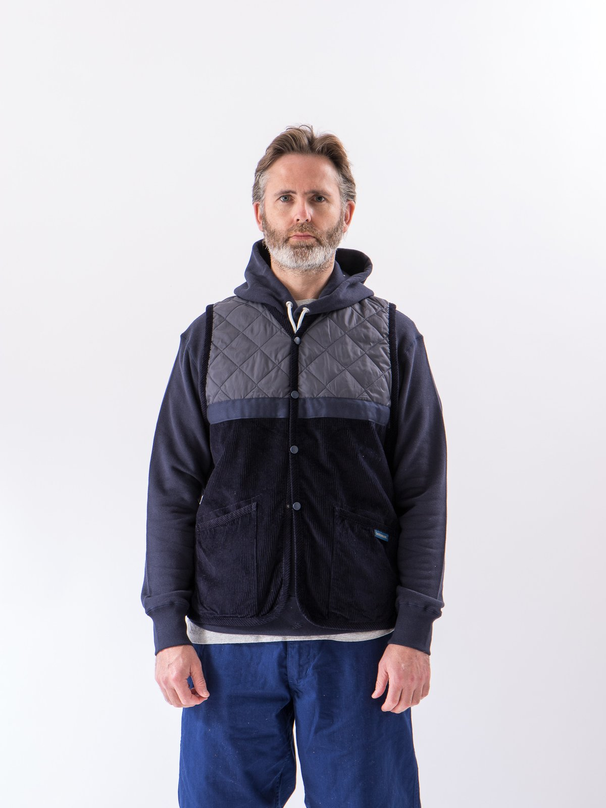 Navy Washed Cord Taped Gilet - Image 2