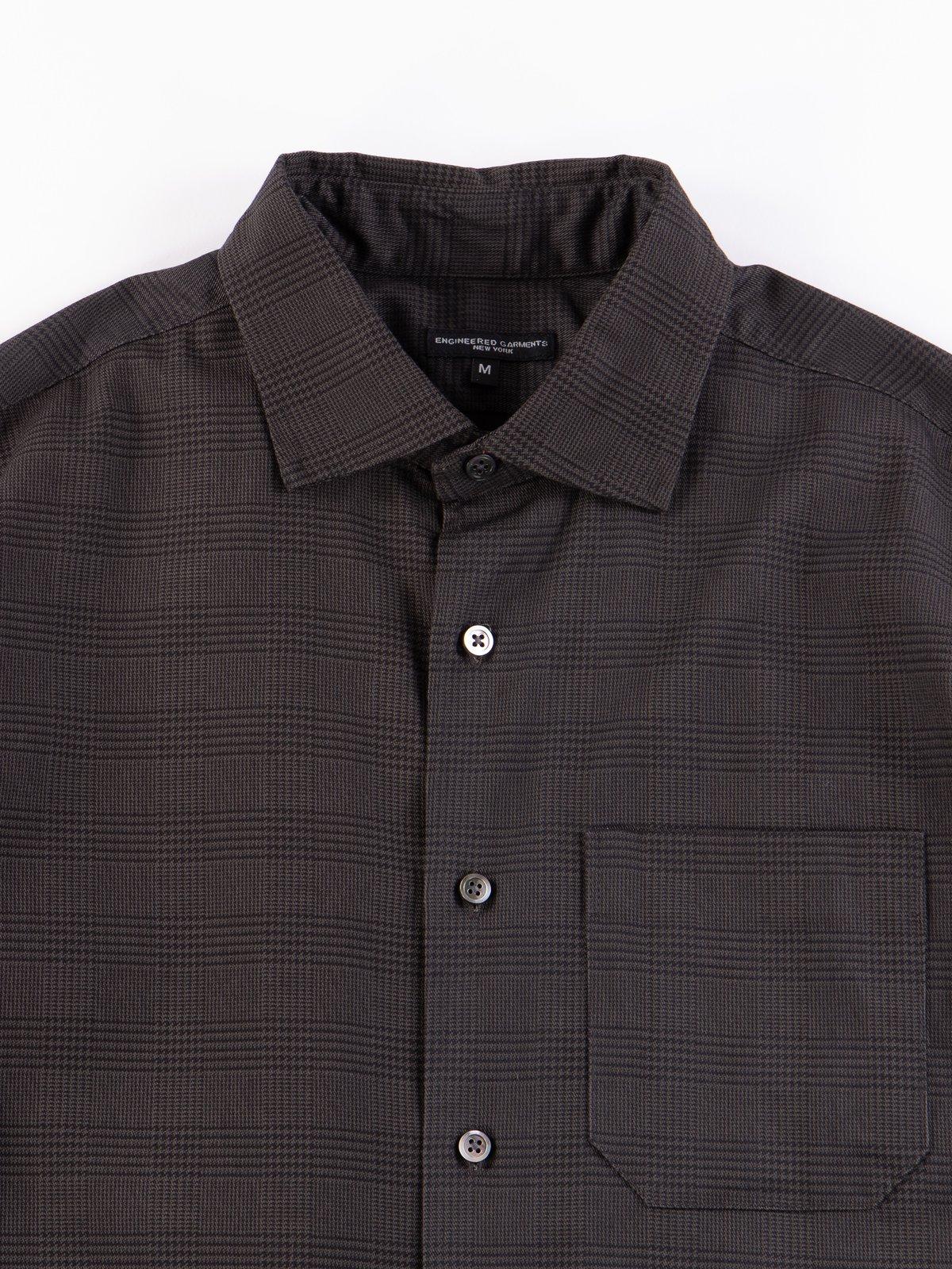 Grey Twill Printed Glen Plaid Spread Collar Shirt - Image 3