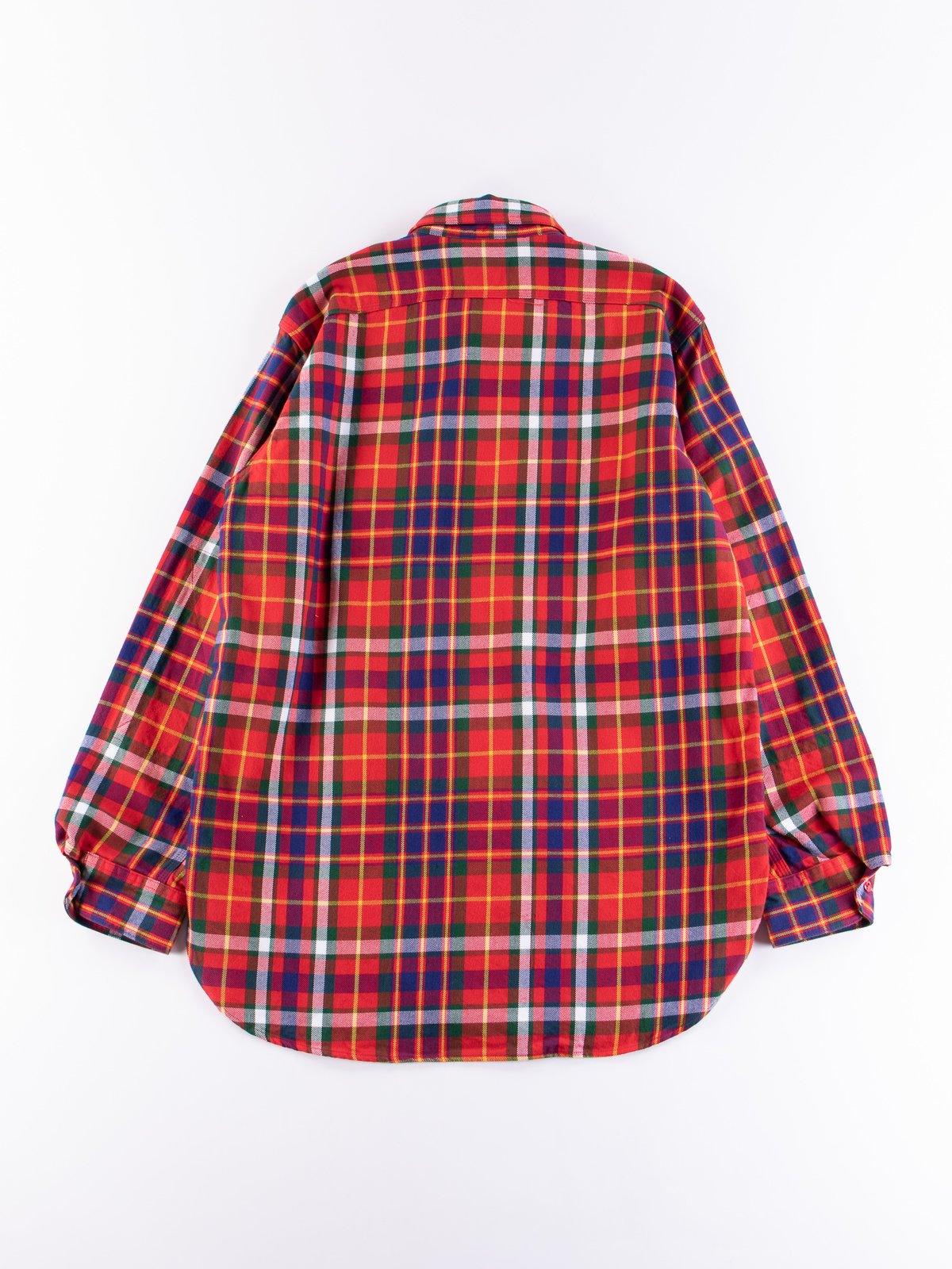 Red/Green/Yellow Cotton Twill Plaid Work Shirt - Image 5