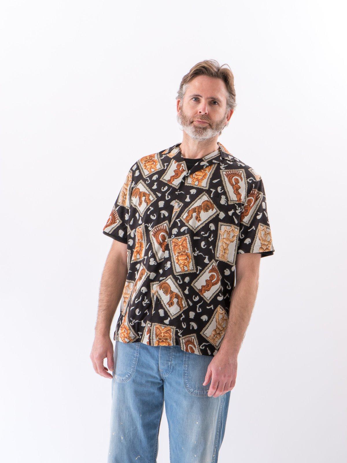 Black Hawaiian Tikis Rayon Camp Shirt - Image 3