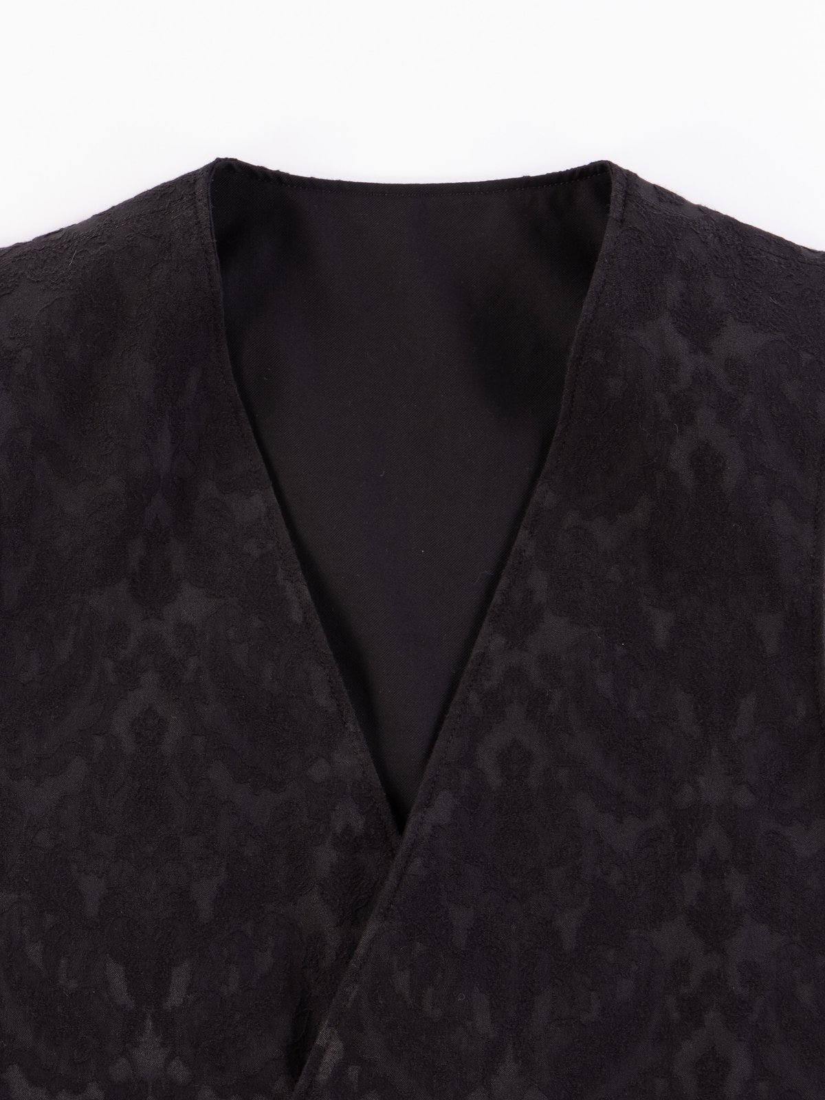 Black Worsted Wool Gabardine Reversible Vest - Image 8